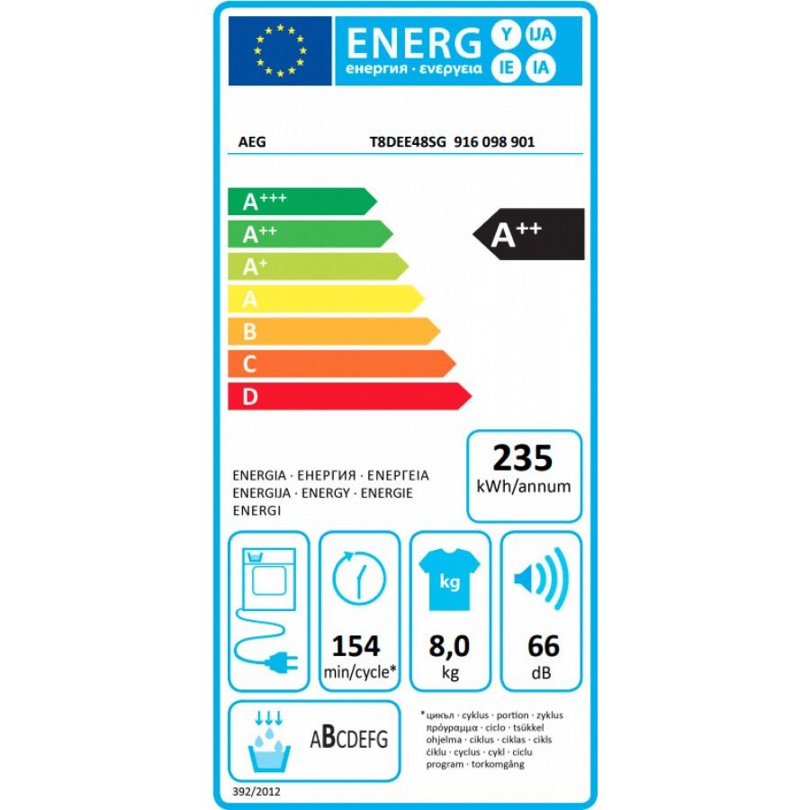 AEG T8DEE48SG Στεγνωτήριο 8kg A++ με Αντλία Θερμότητας